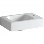 Geberit iCon xs - Handwaschbecken 380 x 280 mm mit Hahnloch rechts ohne Überlauf weiß mit KeraTect