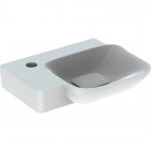 Geberit myDay - Handwaschbecken 400 x 280 mm mit Hahnloch links ohne Überlauf weiß mit KeraTect