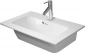 Duravit ME by Starck - Möbelwaschtisch 680 mm weiß seidenmatt mit Überlauf mit 1 Hahnloch