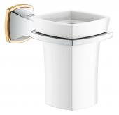 Grohe Grandera - Halter mit Keramik-Mundspülglas chrom / gold