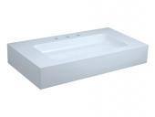 Keuco Edition 300 - Vasque à encastrer par le dessus pour meuble 950x525mm avec 3 trous de robinetterie avec trop-plein couvert blanc sans revêtement