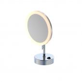 Steinberg Serie 650 - LED Stand-Kosmetikspiegel 5-fach Vergrößerung batteriebetrieben chrom
