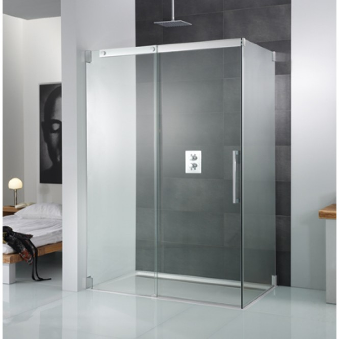 HSK K2P - Seitenwand für Gleittür 2-teilig 50 Echtglas klar 1600/900 x 2000 mm 41 chromoptik