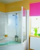 HSK - Badewannenfaltwand 3-teilig 56 carré 1250 x 1400 mm 95 Standardfarben