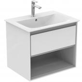 Ideal Standard Connect Air - Waschtisch-Unterschrank 600 x 440 x 517 weiß glänzend / hellgrau matt