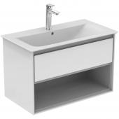 Ideal Standard Connect Air - Waschtisch-Unterschrank 800 x 440 x 517 weiß glänzend / hellgrau matt