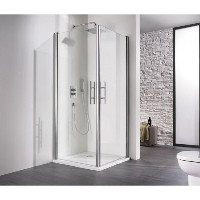 HSK - Corner entrance 2-piece, 01 Alu silver matt 900/750 x 1850 mm, 50 ESG clear bright