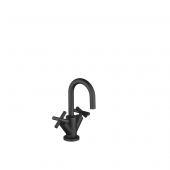 Dornbracht Tara - 2-handle basin mixer M-Size with pop-up waste set black