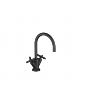 Dornbracht Tara - 2-handle basin mixer L-Size with pop-up waste set black