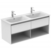 Ideal Standard Connect Air - Waschtisch-Unterschrank 1200 x 440 x 517 weiß glänzend / hellgrau matt