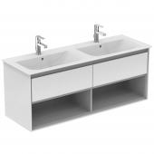Ideal Standard Connect Air - Waschtisch-Unterschrank 1300 x 440 x 517 weiß glänzend / hellgrau matt