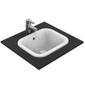 Ideal Standard Connect - Drop-in washbasin for Console 420x350mm without tap holes with overflow white with IdealPlus