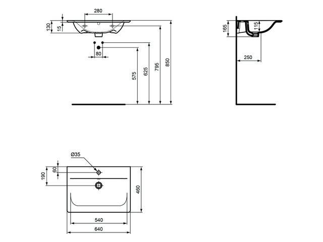 ideal standard connect air m belwaschtisch 640 x 460 mm. Black Bedroom Furniture Sets. Home Design Ideas