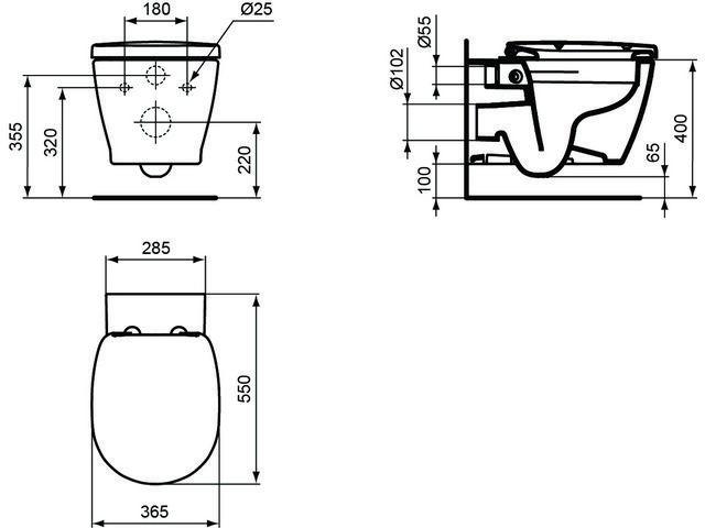 ideal standard connect wand tiefsp l wc set ohne sp lrand wei ohne idealplus. Black Bedroom Furniture Sets. Home Design Ideas