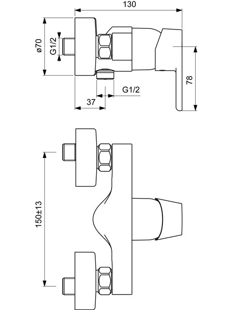 ideal standard vito aufputz einhebel duscharmatur mit 1 verbraucher xtwostore. Black Bedroom Furniture Sets. Home Design Ideas