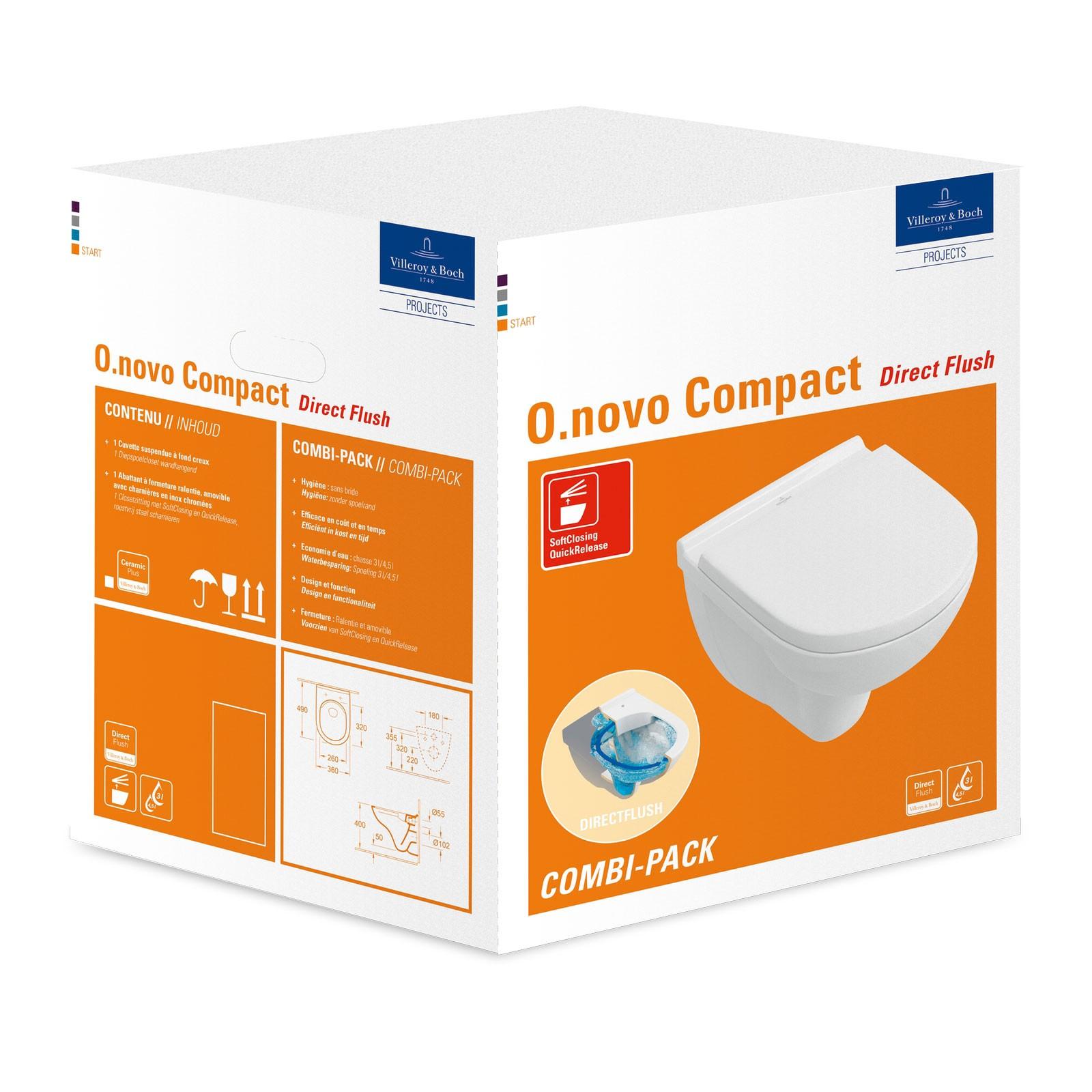 Villeroy & Boch O.novo Wand-Tiefspül-WC Compact SET mit DirectFlush ...