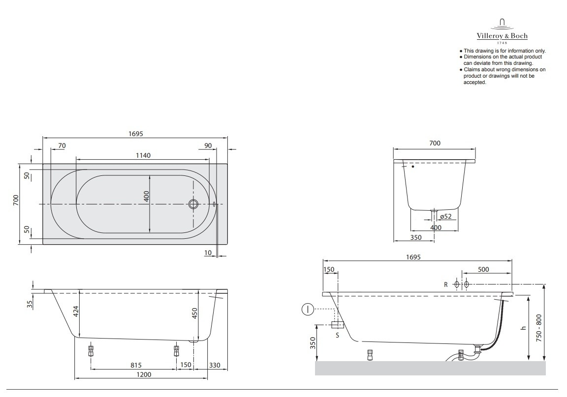 villeroy boch badewanne rechteck 1700 x 700 mm. Black Bedroom Furniture Sets. Home Design Ideas