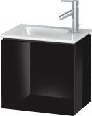 Duravit L-Cube - Waschtischunterbau 420 x 400 x 294 mm mit 1 Tür & Anschlag links schwarz hochglanz