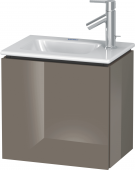 Duravit L-Cube - Waschtischunterbau 420 x 400 x 294 mm mit 1 Tür & Anschlag links flannel grey hochglanz