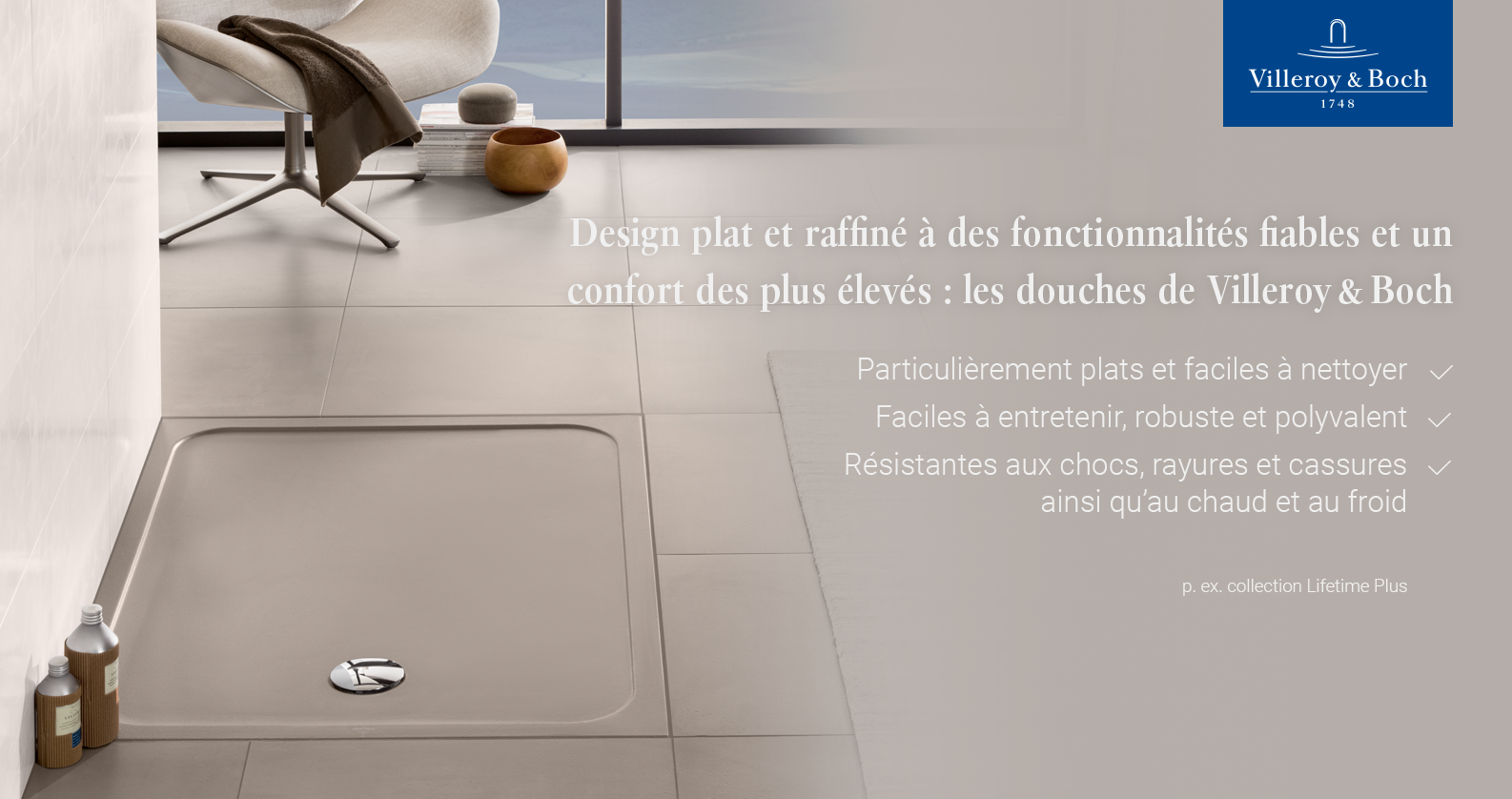 Villeroy & Boch Lifetime Plus receuvers de douche