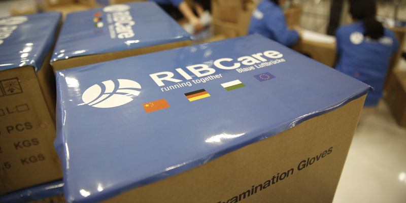 RIB Care packages with logo in close-up