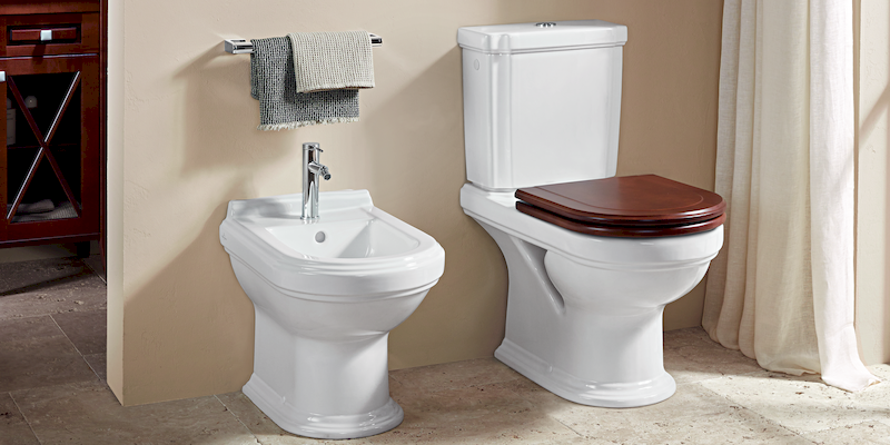Hommage de Villeroy & Boch - Freestanding Bidet and Close-Coupled Toilet at xTWOstore