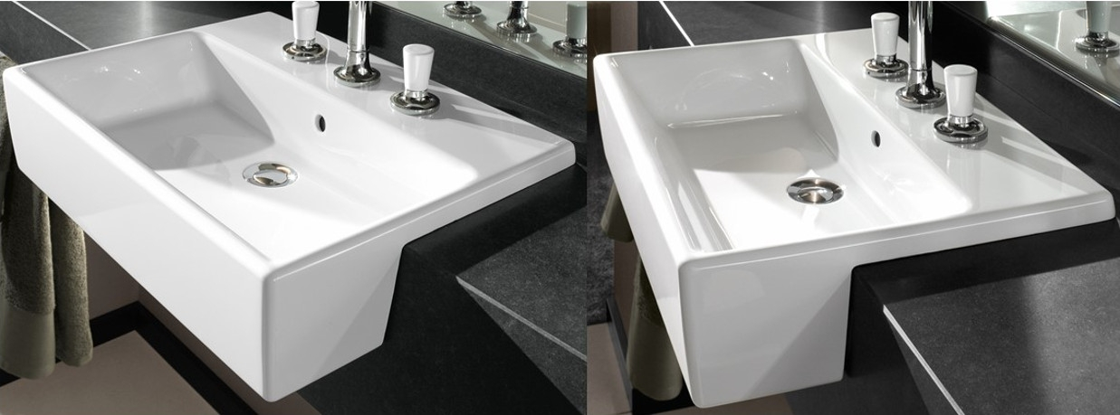 Semi-recessed washbasins