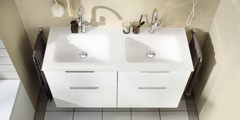 burgbad Eqio Double Washbasin with Vanity Unit at xTWOstore